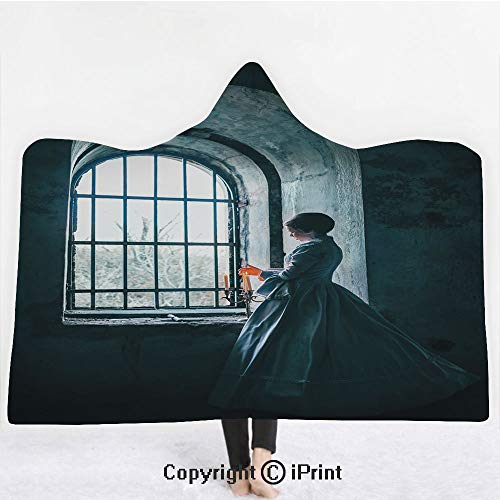 (Medieval Decor 3D Print Soft Hooded Blanket Boys Girls Premium Throw Blanket,Woman with Victorian Dress in front of a Middle Age Style Window Gothic Dramatical Art Photo,Lightweight Microfiber(Kids 50)