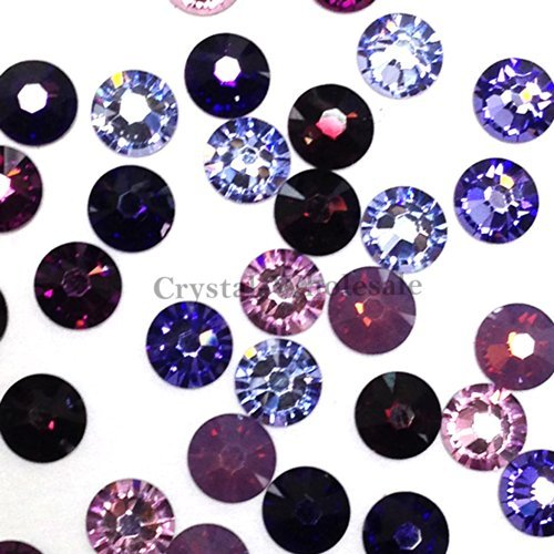 Flat Back Crystal Purple Velvet (144 pcs (1 gross) Swarovski 2058 Xilion / 2088 Xirius SS12 (3.1mm) crystal flatbacks No-Hotfix rhinestones nail art PURPLE Color Mix **FREE Shipping from Mychobos (Crystal-Wholesale)**)