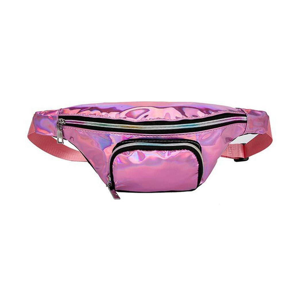Inkach Women Belt Fanny Pack, Holographic Messenger Shoulder Chest Bags Running Sports Waist Pack Bag (Pink)