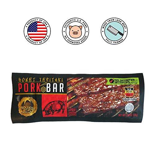 Golden Nest Pork Jerky Bar, Gluten Free, Healthy Meat From Gourmet USA, Non-GMO Honey Glazed (1.5 oz.) (Honey Teriyaki, Pack of 5)