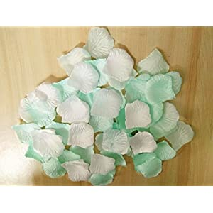 Worldoor Pack of 600pc Mixed Color Rose Petals Mint & White Silk Rose Petals Wedding Flowers Party Decoration Confetti Bridal Shower Party Favor 81