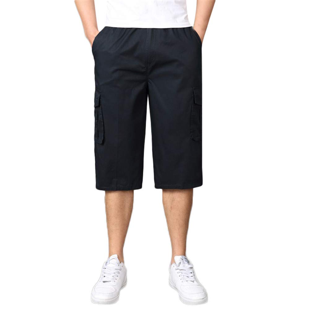 Men's Solid Shorts Fashion Casual Loose Cotton Trousers Plus Size Seven-Point Beach Pant Cargo Shorts