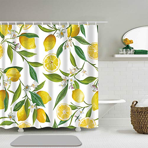 Abili Brazil Floral Pattern Lemon Fruits Flowers Leaves Green Elegant Exotic Shower Curtains, Waterproof Polyester Fabric with 12 Curtain Hooks 72-Inch by 72-Inch (Exotic Shower Curtains)