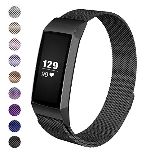 Wekin Milanese Bands Compatible with Charge3 Fitness Tracker, Woven Loop Stainless Steel Mesh Bracelet with Unique Magnetic Closure Clasp Replacement for Charge 3 & Charge3 SE ()
