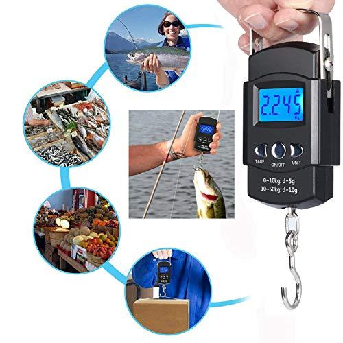GRANDBUY Handheld Digital Fish Scale 99lb/45kg with Built-in Tape Measure 39Feet Floating Fish Gripper Fishing Lanyard Fish Hook Remover Combo Kit (Blue&Black)