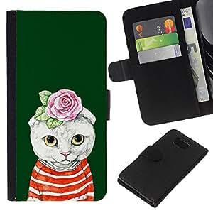 Stuss Case / Funda Carcasa PU de Cuero - Kit Gatito Gato Rose verde Absurdo - Samsung ALPHA G850