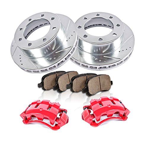 Premium Loaded OE Caliper Assembly Set + 2 CCK03250 REAR 4 Quiet Low Dust Ceramic Brake Pads Kit