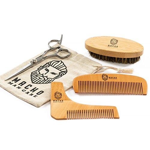 Premium Brush and Comb Set For Men – Beard Brush, Beard Comb, Mustache Barber Scissors, Shaper Tool, Best Trimming & Growth Beard Care Gift Set (Comb & Scissors Set)
