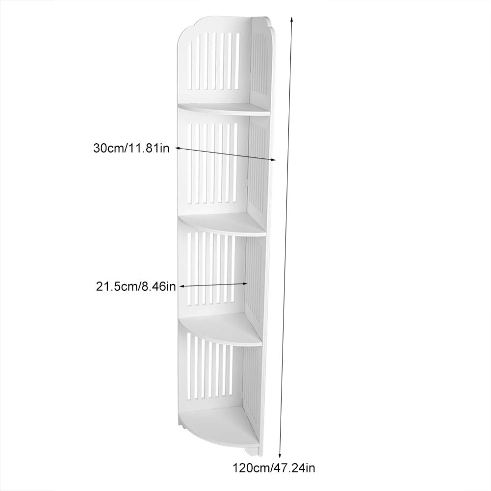 Narrow Bathroom Storage 4 Tier Wooden Standing Corner Cabinet Tall Cupboard Bathroom Bedroom Storage Rack White