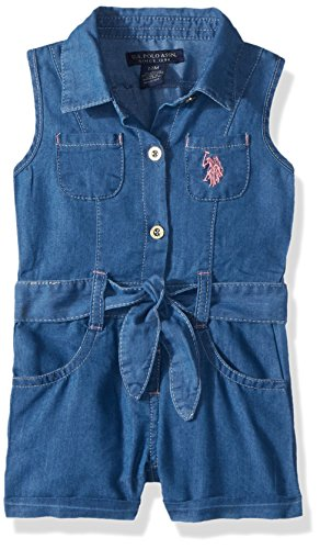 U.S. Polo Assn. Baby Girls Romper, Button Front Collared Sleeveless Blue wash, 6-9 - Blue Collared Romper