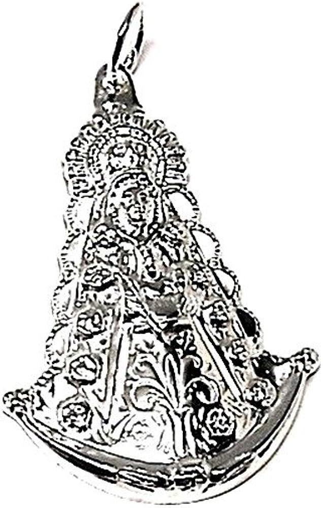 Medalla Colgante Plata Ley 925M Virgen Del Rocío 40mm. Estampada Tallada Reasa Lisa