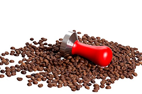 Coffee Tamper Standard for Espresso, Stainless Steel and Handle from solid wood (58mm, Red)