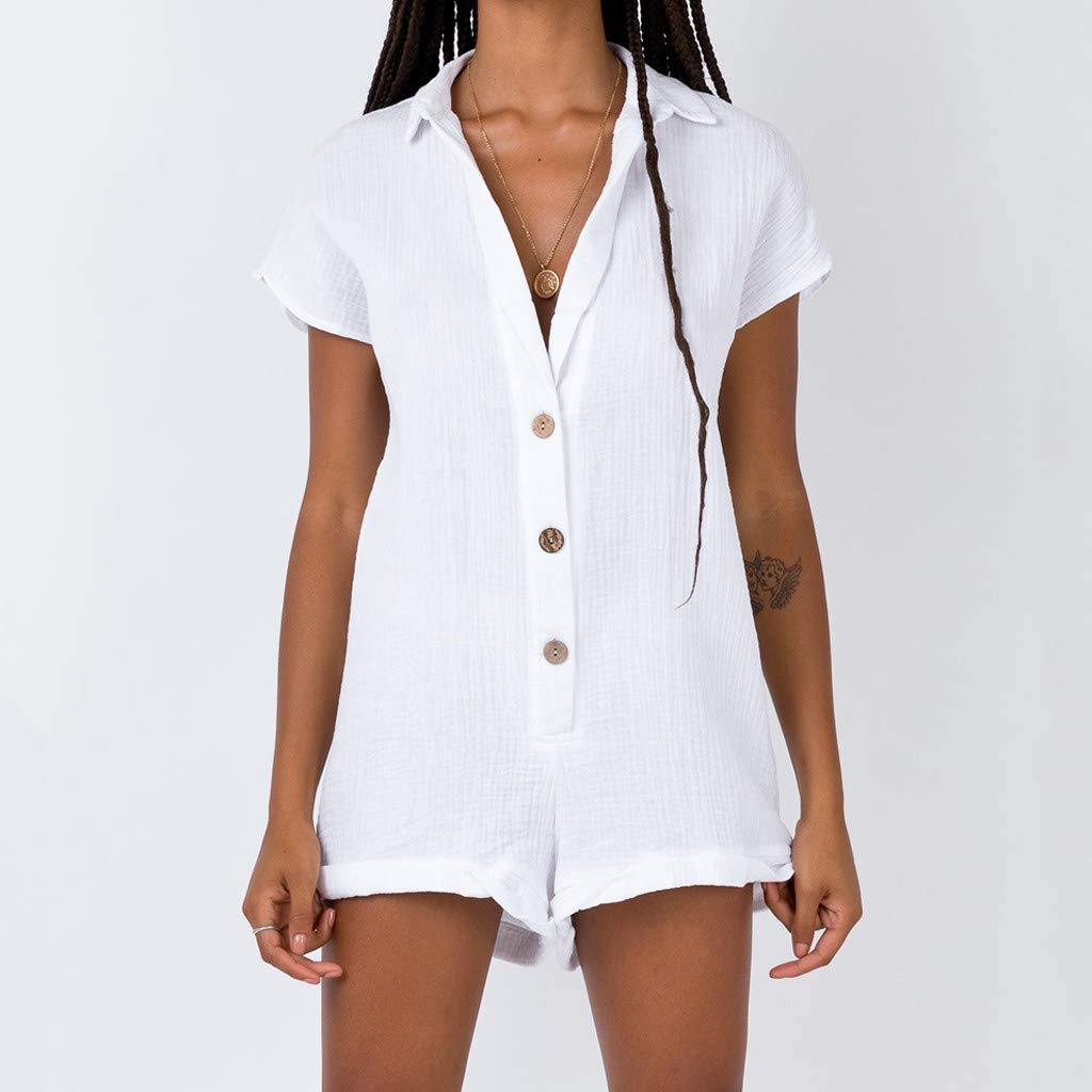Kolylong Women Summer Solid V-Neck Short Sleeve Buttons Cotton and Linen Casual Jumpsuits