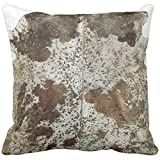 Throw Pillow Cover Fur Faux Freckled Brown Cowhide Leather Animal Decorative Pillow Case Home Decor Square 18 x 18 Inch Pillowcase
