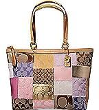 Coach Patchwork Signature Shopper Shoulder Bag Tote 11711 Pink Multi