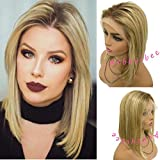 Ombre Wig Lace Front Brazilian Virgin Hair Balayge Medium Brown Roots Golden Brown Highlighted Blonde 16inch Pre Plucked Hairline Smooth and Bouncy Full End 180% Density #4T12/613