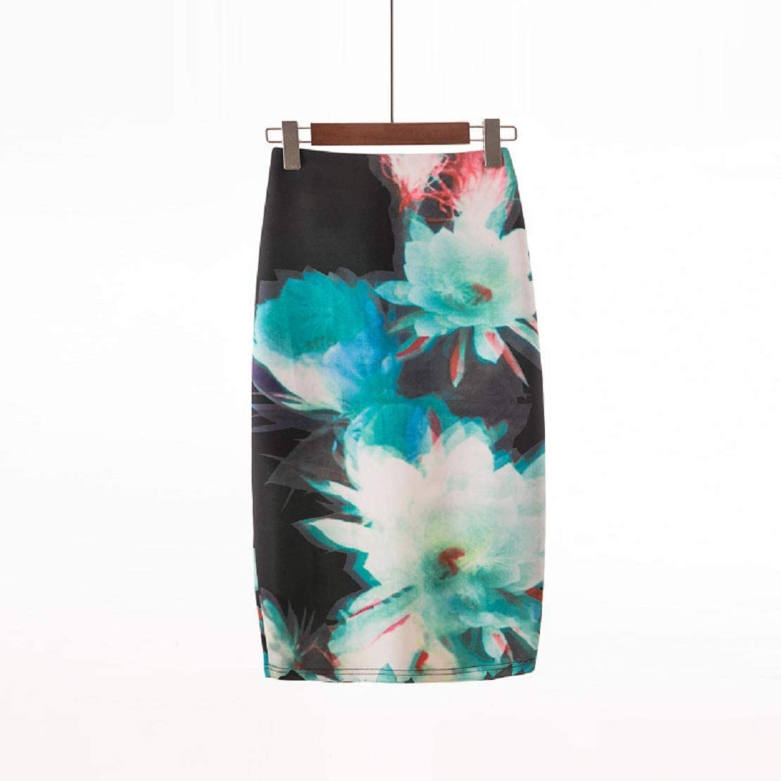 Women Pencil Midi Skirt Comfort Stretch Bodycon Knee High Skirt Office Lady Floral Print Elastic Slim Skirt by Lowprofile