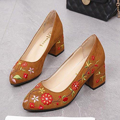 con Brown boca mujer zapatos GAOLIXIA alto zapatos de zapatos verano primavera bordados primavera trabajo de de caminar de Zapatos de tacón y bordados zapatos profesional superficial para Tv5ZF5xq