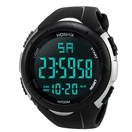 Hunzed Mens Watch Sports Waterproof Stopwatch Alarm Analog Digital LED Screen Large Face Military Watches (White) ()
