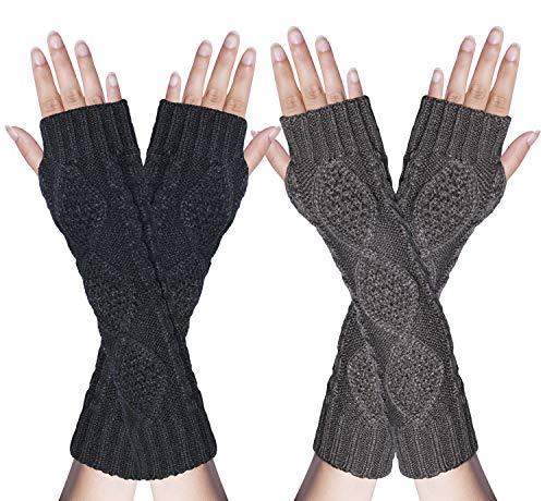 2 Pair Women's Hand Crochet Winter Warm Fingerless Arm Warmers Gloves (Women Hand Warmer)