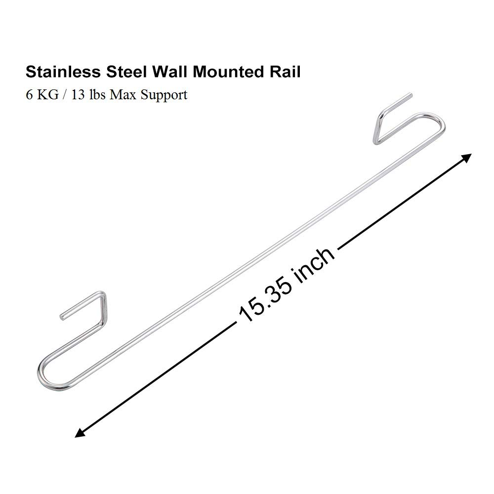 NO DRILLING Wall Mounted Utensil Rail Rack 15.3 Inch Pot 304 Stainless Steel Hanging Hooks for Kitchen Tools 4 Adhesives included E-Gtong 2-Pack Kitchen Rail with 12 Sliding Hooks Towel
