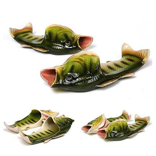 BING RUI CO 6 Colours Fish Slippers Beach Shoes Non-Slip Sandals Creative Fish Slippers Men and Women Casual Shoe (Green, Male(11.5-12.5)) ()