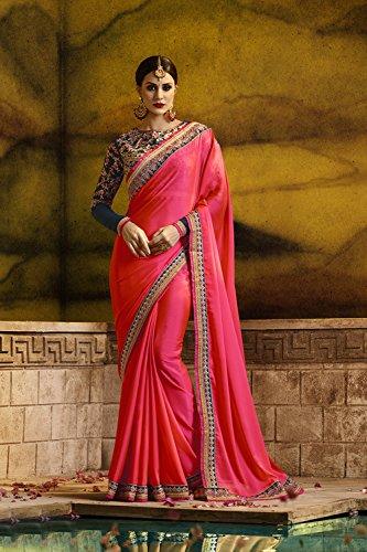 Da Facioun Saris Indiens Pour Les Femmes Portent Partie Concepteur De Mariage Traditionnel Sari Rose.