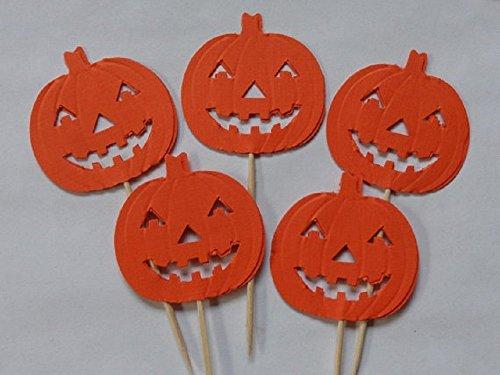 Jack O' Lantern Pumpkin Cupcake Toppers - Halloween Party Picks - Food Picks (Set of (Cupcakes Halloween Jack)