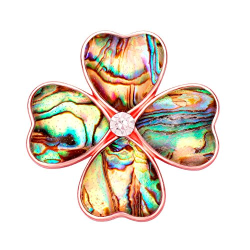 (SENFAI Gold Four Heart Leaf Abalone Shell Flower Magnetic Clip Holder Brooch Jewelry (Rose)