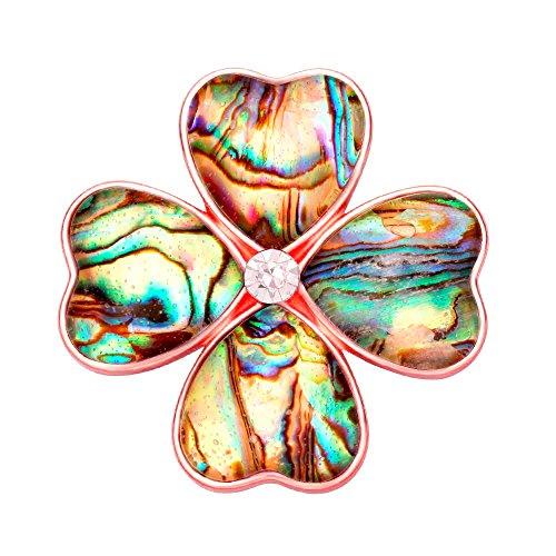 SENFAI Gold Four Heart Leaf Abalone Shell Flower Magnetic Clip Holder Brooch Jewelry (Rose Gold) - Golden Heart Brooch