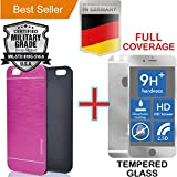 iPhone 6 PLUS & 6S PLUS [5.5] [Aluminum Alloy] Case + [FULL BODY] Silver [Tempered Glass] Screen Protector [Shock Resistant] Cover [Dual Layer] PVC [INO Metal] Absorbent Bumper [Motomo] Fuschia