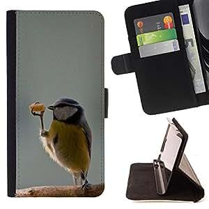 BullDog Case - FOR/HTC One M8 / - / funny cute bird dancer winter sweet /- Monedero de cuero de la PU Llevar cubierta de la caja con el ID Credit Card Slots Flip funda de cuer