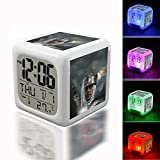 Wake Up Alarm Thermometer Night Glowing Cube 7 Colors Clock LED for Bedroom&Table,School