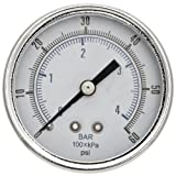 "Parker K4520N14060 Gauge for 05R, 05E, 06R, 06E, 07R, 07E, P3NR, P3NE, R119, 10R, 11R, 12R, 12E, 14R and 15R Series Filter/Regulator, 60 psig, 1/4"" NPT (0 to 4.1 bar)"