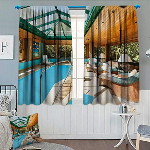 Anhounine Modern,Blackout Curtain,Residential House Large Indoor Pool Furniture Sunrays Leisure Time Print,Patterned Drape for Glass Door,Green Pale Brown Blue,W72 x L84 inch ()