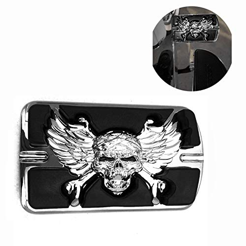 High Quality Wing Skull Zombie Emblem Chromed Harley Davidson Touring Softail Brake Pedal Large Pad H-D Willie G.