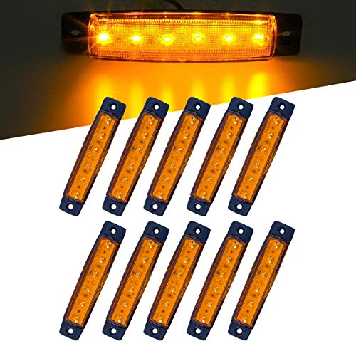er Front Side Marker 6 LED Trailer Truck Lorry Indicators Lights, Amber Rear Led Marker Trailer Parking Turn Signal Lights for Truck Jeep SUV Bus Boat Rv etc ()