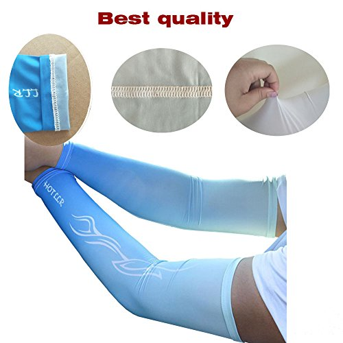 JueDi Sun Sleeves Cool Ice Long Large Arm Sleeves Uv Protection for Youth&Adult Men&Women Outdoor Sports Golf Cycling Driving Gardening Fishing Running SPF50+ 1Pair Black XL by JueDi (Image #3)