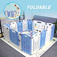 Baby Folding playpen Baby Playpen Kids Activity Centre Safety Play Yard Home Indoor Outdoor New Pen (White and Blue)