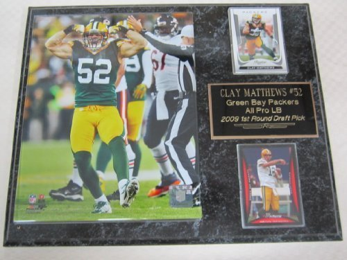 Green Bay Packers Clay Matthews Muscle Pose 2 Card Collector Plaque w/8x10 Photo