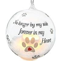 BANBERRY DESIGNS Pet Memorial Christmas Ornament - LED Light Up Glass Ball Xmas…