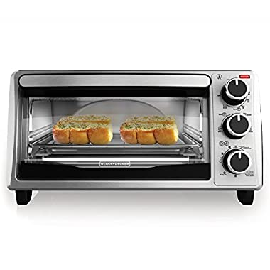 BLACK+DECKER TO1303SB 4-Slice Toaster Oven, Stainless Steel/Black