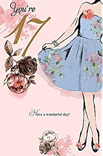 17th birthday girl age 17 today modern girl dress youre 17 greeting card