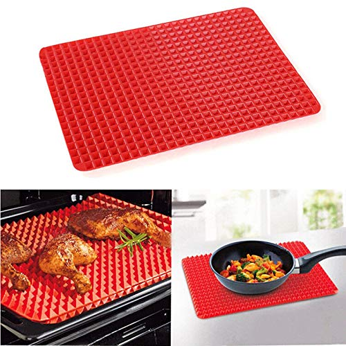 Pyramid Pan Silicone Baking Mat - Nonstick Reusable Pyramid Pan 1PCS - Heat Resistant Roasting Cooking Mat, Fat Reducing Silicone Mats for Healthy Cooking (Red)