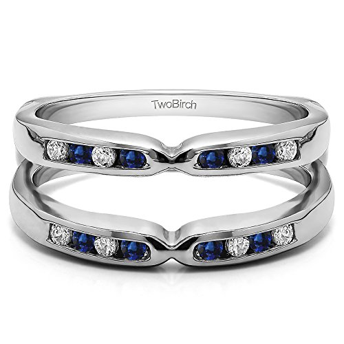 Silver Pinched Center Classic Style Ring Guard Enhancer with Diamonds and Sapphire (0.24 ct. twt.) by TwoBirch
