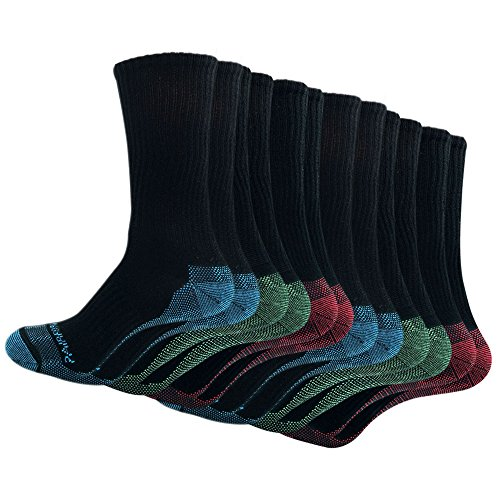 PAIRFORMANCE 6 Pairs Work Socks Men Pack Black Breathable Cotton, Padded Color Sole, Comfortable No Sweat (Small-Medium) (Sock Sole Double)