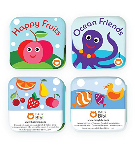 """Floating Kids Books for Bathtub (Set of 2) by Baby Bibi. Fruits & Sea Animals. Waterproof Educational Toy for Baby or Toddler. Bath Time Learn & Play. 3.5""""x3.5"""""""