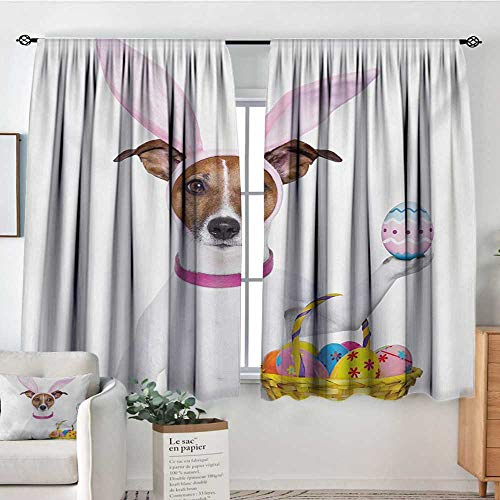 Mozenou Easter Custom Curtains Dog Dressed up as Easter Bunny Holding a Basket of Eggs Funny Animal Illustration Customized Curtains 72