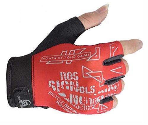 望遠鏡ネスト電子素敵な通気性のレッドフィットネス半分の手袋スポーツ手袋自転車手袋ユニセックス