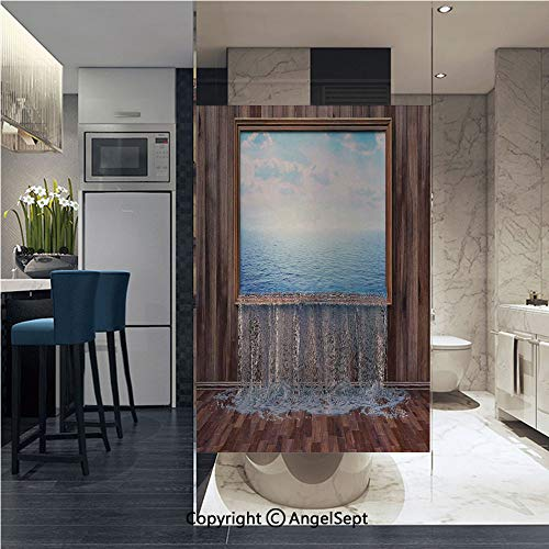 AngelSept Non-Adhesive Privacy Window Film A Surreal Image of Ocean Pours into The Ground Nature in Urban Life Modern Art Door Sticker Glass Film 22.8 in. by 35.4in. (58cm by 90cm),Blue Brown ()